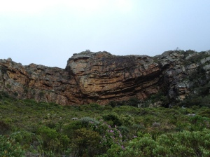 View of Muizenberg crag, with climbing getting more difficult as you move right to the 'hole', a daunting overhanging section with some beautiful, but demanding climbs.